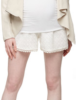 A Pea in the Pod Secret Fit Belly Crochet Lace Maternity Shorts