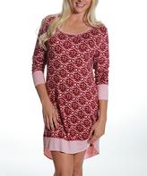 Catherine Malandrino Pink Ikat Three-Quarter Sleeve Nightgown