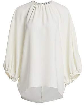 Oscar de la Renta Women's Stretch Silk Bubble Sleeve Blouse