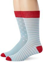 English Laundry Men's Polka Dot and Stripe Crew Socks (Pack of Two Pairs)
