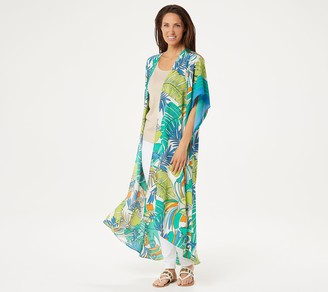 Women With Control Attitudes by Renee Petite Border Print Duster