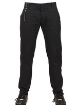DSquared Leather String Cotton Canvas Trousers
