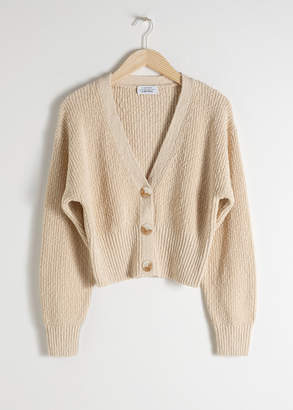 And other stories Cropped Textured Cotton Cardigan