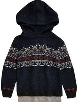 River Island Mini boys navy fairisle knit hoodie