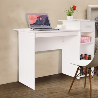 "Ebern Designs Home Desktop Computer Desk With Drawers Home Small Desk Dormitory Study Desk Color: White, Size: 27.5"" H x 40.9"" W x 19.6"" D"