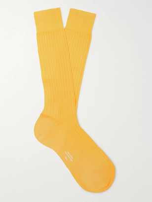 Charvet Ribbed Cotton Socks - Men - Yellow