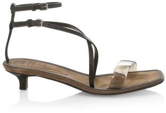 Brunello Cucinelli Kitten-Heel Leather Sandals