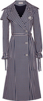 Preen by Thornton Bregazzi Jette Crystal-embellished Gingham Twill Trench Coat - Navy
