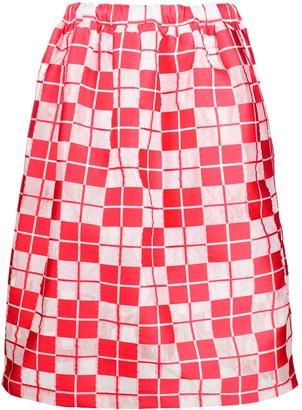 Plan C Check Flared Midi Skirt