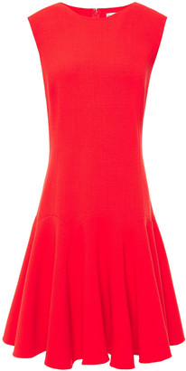 Oscar de la Renta Flared Wool-blend Crepe Mini Dress