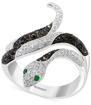 Effy Diamond (7/8 ct. t.w.) & Emerald Accent Snake Statement Ring in 14k White Gold