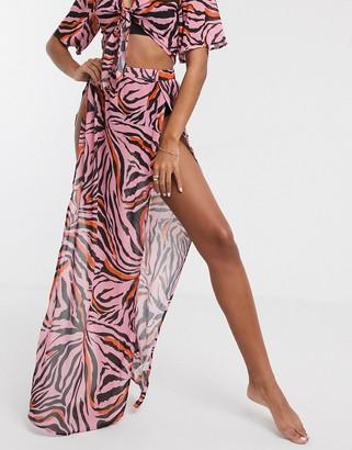 UNIQUE21 Unique 21 Abstract Zebra Split Front Maxi Skirt