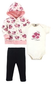 Hudson Baby Baby Girls Rose Hoodie, Bodysuit or Tee Top and Pant Set, Pack of 3