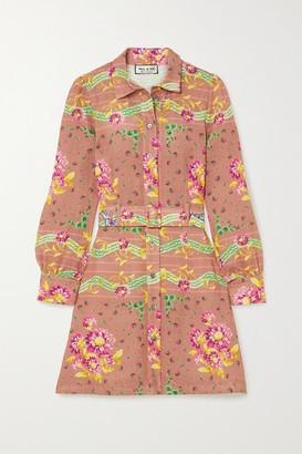 Paul & Joe Belted Floral-print Linen Mini Shirt Dress - Orange