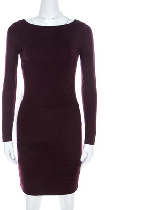 Diane von Furstenberg Burgundy Cotton Jersey Fitted Joy Dress XS