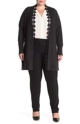 Laundry by Shelli Segal Lace Trim Belted Cardigan (Plus Size)