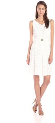 Jones New York Women's V Neck Pleated Front Dress