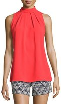 Trina Turk Kenji Sleeveless Crepe Mock-Neck Top, Red