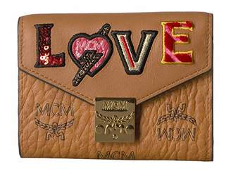 MCM Patricia Love Patch Flap Wallet/Trifold Small