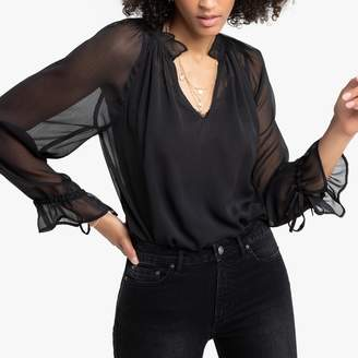 La Redoute Collections High-Neck Blouse with Ruffles and Sheer Sleeves