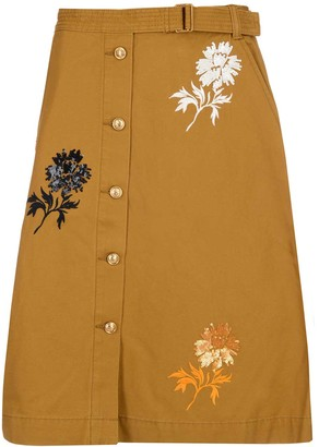 Tory Burch Floral Embroidered Denim Skirt
