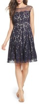 Eliza J Women's Illusion Yoke Lace Fit & Flare Dress