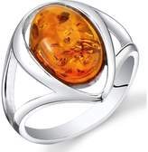 Ice Amber Polished Sterling Silver Fashion Ring