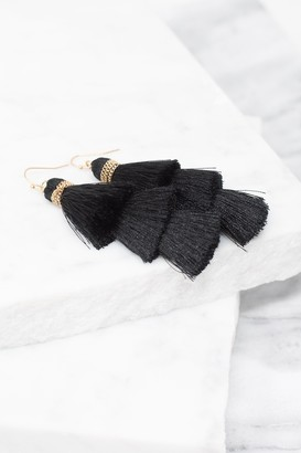 The Mint Julep Boutique Collect Your Thoughts Black Tiered Tassel Earrings