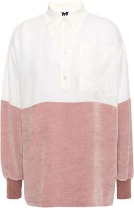 M Missoni Two-tone Crepe De Chine And Velvet Shirt
