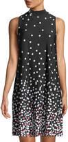 Neiman Marcus Mock-Neck Polka-Dot Dress