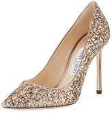 Jimmy Choo Romy Glitter Pointed-Toe 100mm Pump, Antique Gold
