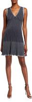 M Missoni Metallic Stripe V-Neck Sleeveless Fit-and-Flare Dress
