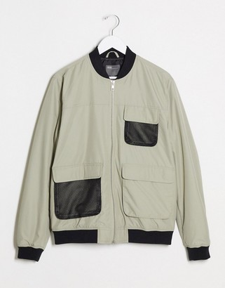 ASOS DESIGN bomber jacket with utility details in gray