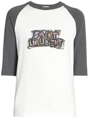 Saint Laurent Logo Raglan T-Shirt