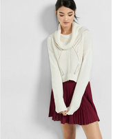 Express cowl neck boxy knit cropped sweater