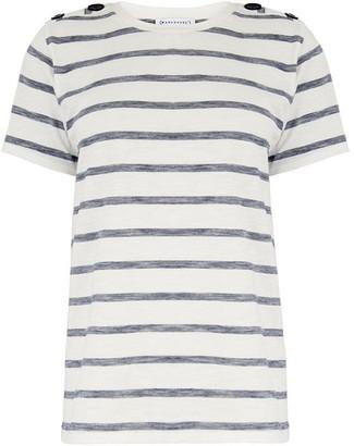 Warehouse Texture Stripe Button T-Shirt