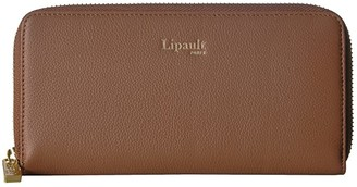 Lipault Paris Plume Elegance Leather Zip Around Wallet (Cognac) Wallet Handbags