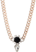 French Connection Rose & Crystal Two-Tone Necklace