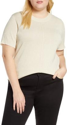 Rachel Roy Metallic Knit Short Sleeve Top (Plus Size)