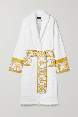 Versace Printed Poplin-trimmed Cotton-jacquard Robe - White
