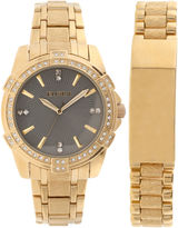 Elgin Mens Gold Tone Id Bracelet Watch Set Fg10009St