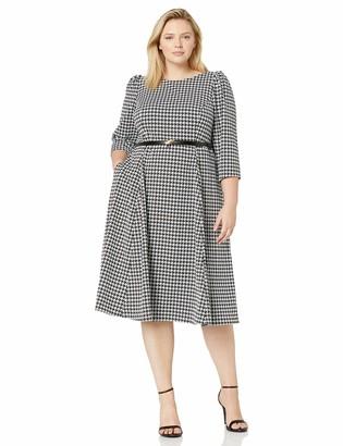 Calvin Klein Women's Size Three Quarter Sleeve Belted Midi Dress
