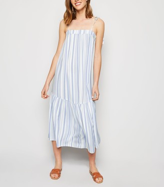 New Look Stripe Tiered Smock Midi Dress