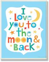 Stupell Industries The Kids Room by Stupell I Love You to the Moon and Back on Blue Background Rectangle Wall Plaque