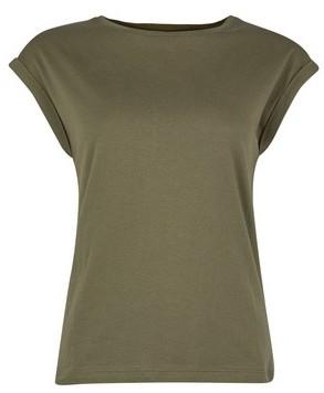 Dorothy Perkins Womens Dp Petite Khaki Organic Cotton Roll Sleeve T