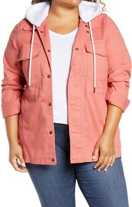 Caslon Hooded Stretch Cotton Utility Jacket