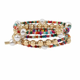 Jessica Simpson Pearl Mixed Beaded Coil Bracelet