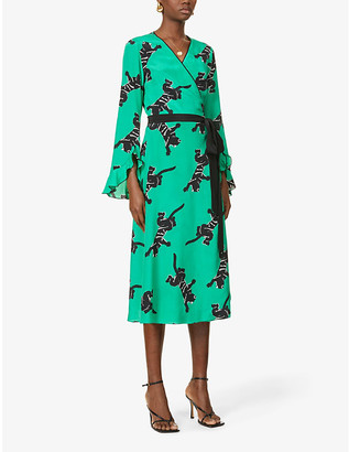 Diane von Furstenberg Serena jaguar-print silk midi dress