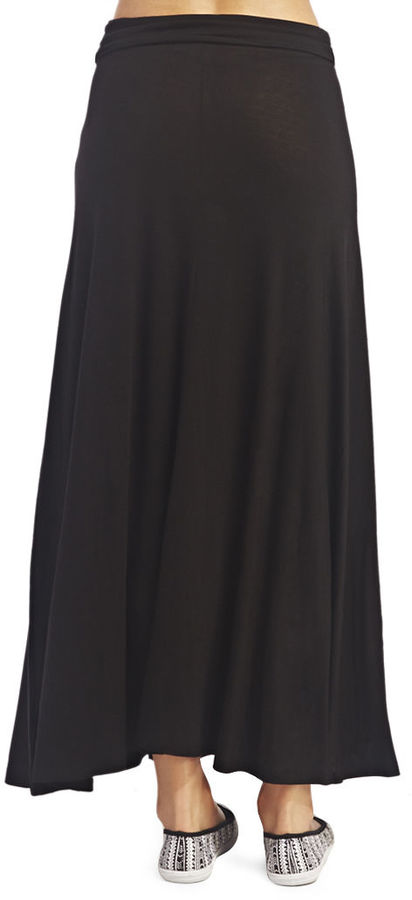 Wet Seal Ruched Solid Maxi Skirt