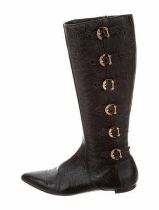 Oscar de la Renta Leather Riding Boots Brown